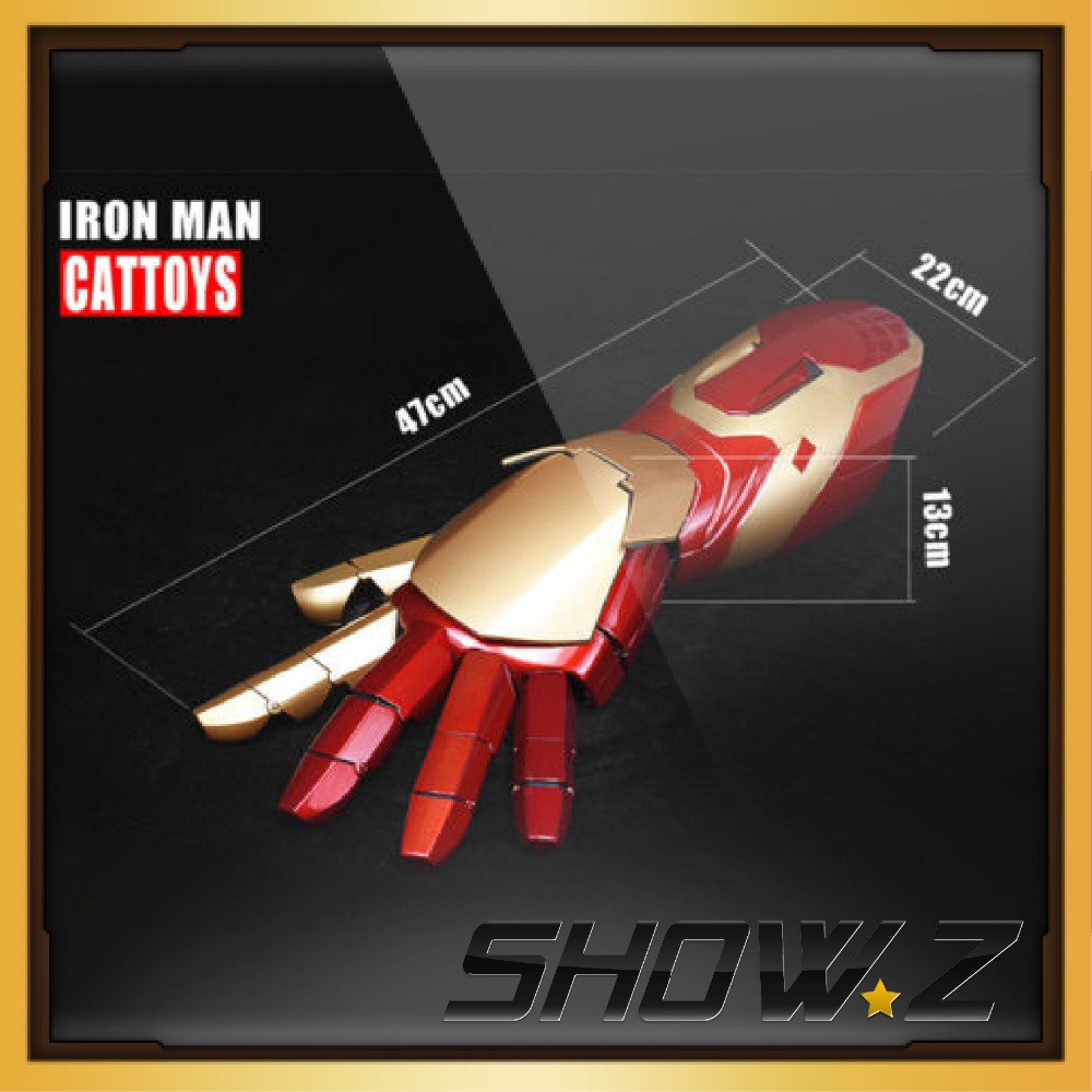 [Show.Z Store] Cattoys MK42 Arm Right/ 1/1 LED Armor Hand For Iron Man MK42 Mark42 XLII 4Wearable Blaster Gauntlet Arm Hand 1 1 the avengers iron man updated gauntlet glove led light left right hand new with retail box