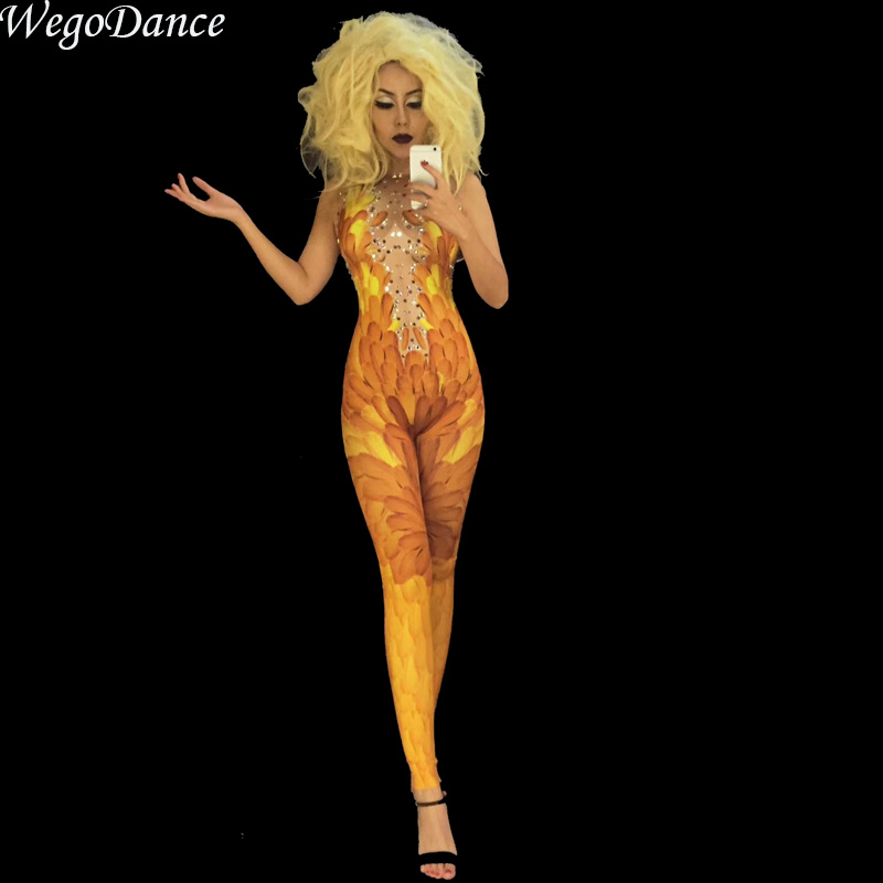New Sexy Yellow 3D Print Feather Sparkly Rhinestone Jumpsuit Nightclub Singer Performance Stage Wear Woman Freeshipping