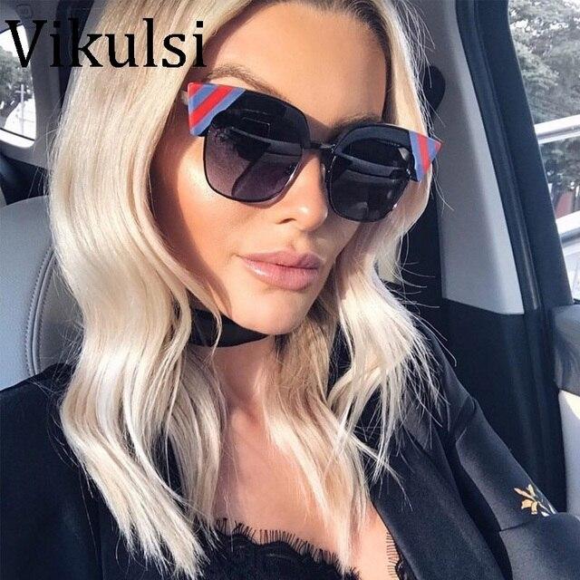 5f5dd7bba1ad59 2018 Mode Rétro Demi-Cadre Cat Eye lunettes de Soleil Femmes Surdimensionné  De Luxe Marque