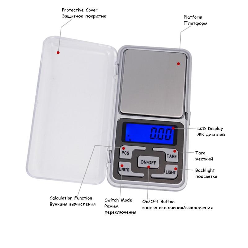 0,01 g 500 g mini elektroninis skaitmeninis balansinis skystųjų - Matavimo prietaisai - Nuotrauka 4