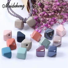 13mm 20pcs Acrylic Single Hole Square Beads with glue Foggy Rubber or Spray Paint Handmade Headgear for Jewelry Hair Rope making vintage acrylic matte rubber paint straight hole pumpkin beads hair accessories beaded drop earrings for women diy ear jewelry