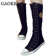 2017 New Fashion Women's Canvas Boots Lace Up Zip Knee High Boots Women Boots Flats Casual Tall Punk Shoes for Girls Black White