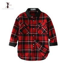 KungFu Ant Fashion Boys Shirts Cotton Full Sleeve Turn-down Collar Plaid Baby Shirts School Uniform Blouses Kids shirts 3096 girls plaid blouse 2019 spring autumn turn down collar teenager shirts cotton shirts casual clothes child kids long sleeve 4 13t