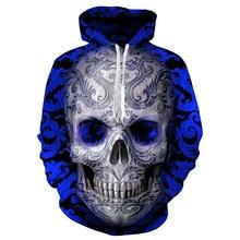 Мужская весенне-осенняя Толстовка синий череп голова цифровая печать Европейская американская мешковатая с капюшоном влюбленных Loodie