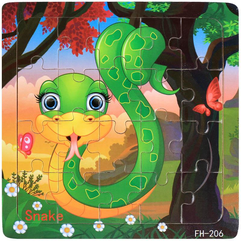 Деревянные пазлы игрушки 20 шт. дети радость Превосходное качество головоломки деревянные Мультяшные животные Развивающие головоломки игрушки для детей - Цвет: 06