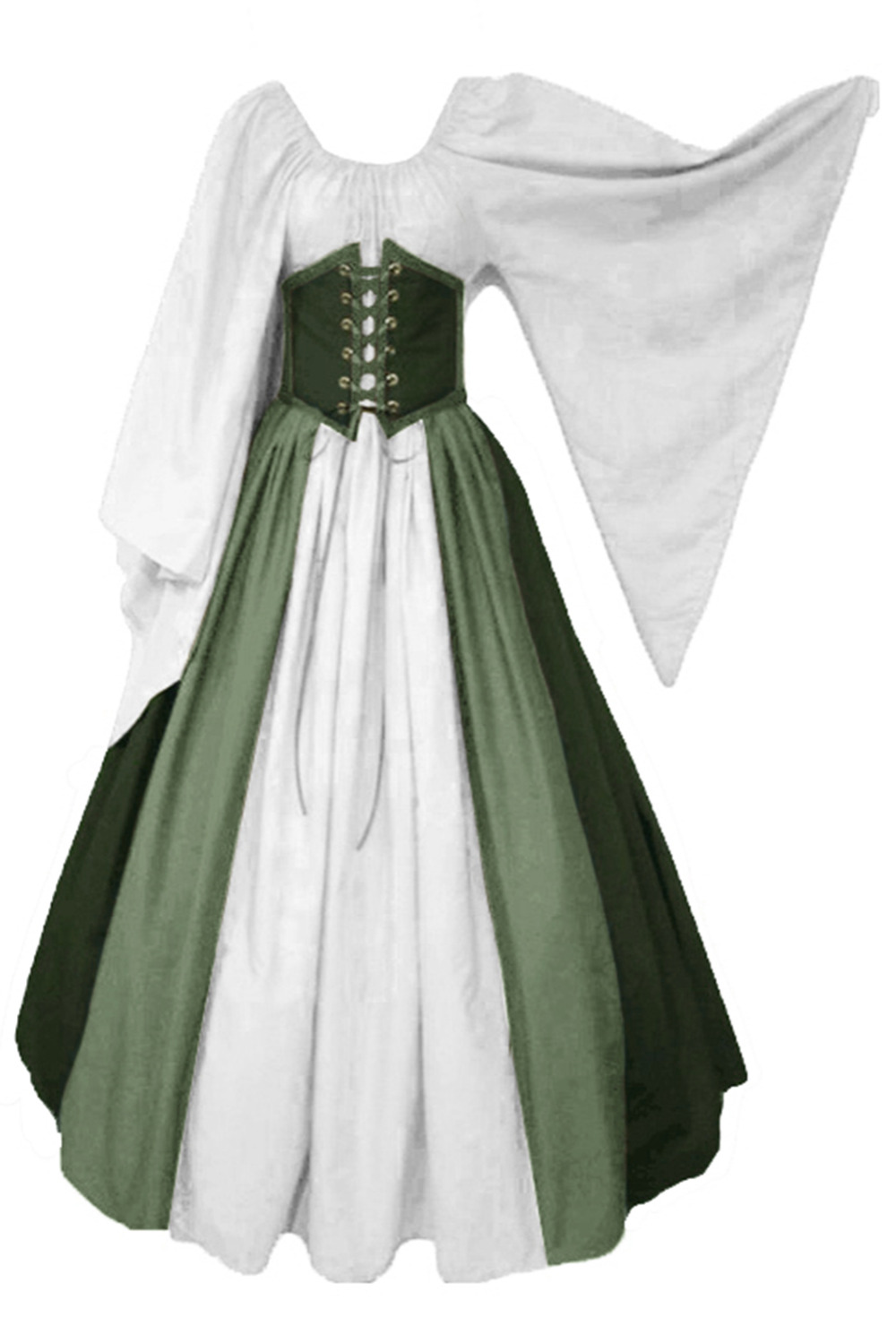 Green Pirate Dress Medieval Renaissance Dress Gothic Victorian Ball Gown Halloween Costume