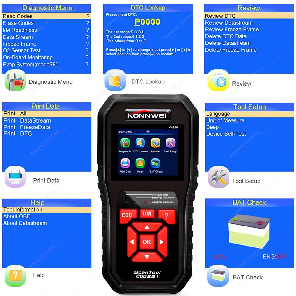 HTB1 lD0OhTpK1RjSZFMq6zG VXaa KONNWEI KW850 OBD2 Auto Diagnostic Scanner Universal OBD Car Diagnostic Tool ODB2 Check Engine Automotive Car Code Reader Black