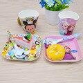 3 шт./компл. Характер детские плиты лук cup Вилки Ложки Посуда Набор для кормления, мультфильм меламина детей набор посуды