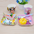 3pcs / set Character baby plate bow cup Forks Spoon Dinnerware feeding Set, cartoon melamine children tableware set