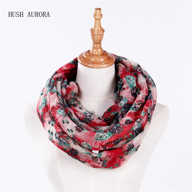 Hot Sale New Fashion High Quality Women cotton voile polyester   scarves   Small Rose Print Chevron Ring   Scarf   Winter Shawl   Wrap