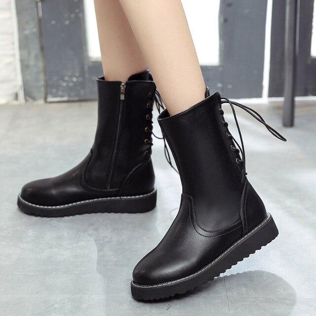 Kadın kış çizmeler kadınlar düz Moda Yuvarlak Deri Orta Çizmeler düz ayakkabı Martin Çizmeler çizmeler kadın hakiki deri # g10