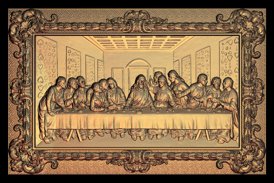 The Last Supper Christianity Jesus 3d STL Used For Cnc Artcam Relief Model M47