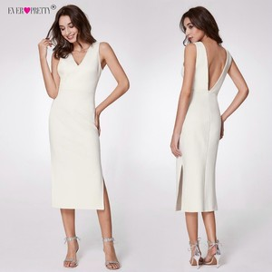 Image 3 - Ever Pretty Fashion White Cocktail Dresses A Line V Neck Backless vestidos coctel mujer 2018 Split Tea Length Casual Party Gown