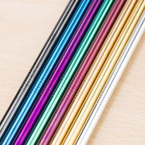 Image 5 - Красочные 304 соломинки многократного использования из нержавеющей стали прямая изогнутая металлическая трубочка для напитков с чистящей щеткой, вечерние принадлежности