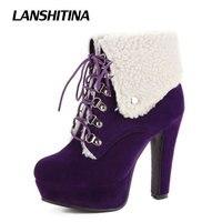 Lanshitina الكاحل امرأة قطيع أحذية عالية الكعب قصيرة النساء الشتاء الدافئ الأحذية منصة مثير أزياء ماركة الأحذية حذاء أحمر