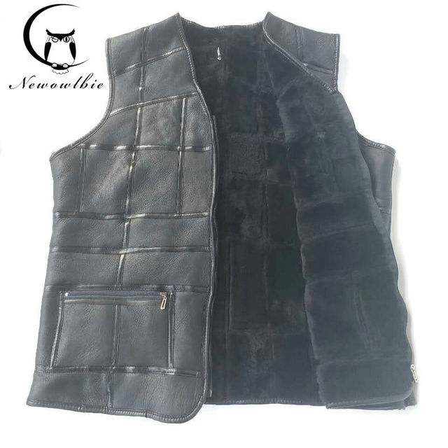2019 New fashion,tank top men,real sheepskin vest,leather vest,men's suit,leather jacket,thickening,inch to be customized