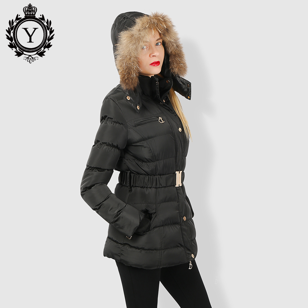 COUTUDI 2019 Winter Women's   Parka   Collection Windproof Women's Thick Coat European Style Rabbit Fur Collar Women's Warm Jacket