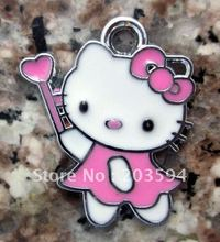 Free Shipping 100Pcs/Lots Zinc Alloy Metal Enamel ' Hello Kitty with magic wand with a little heart ' Charms 23*19mm