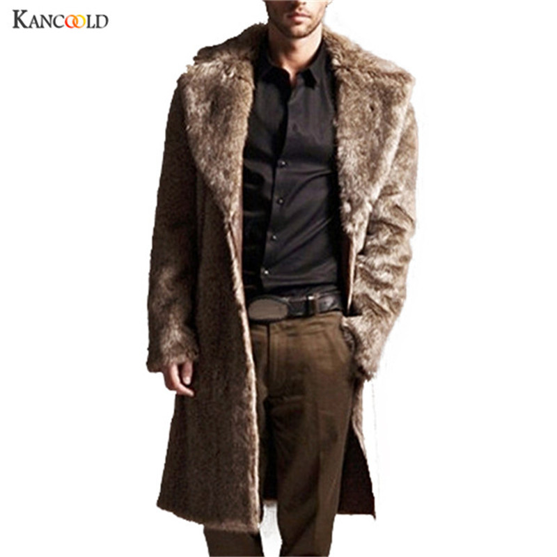 Vintage Men Fur Coats Winter Long Casual Windbreaker Slim fit Men Faux Fur Coat Grey Black Manteau Wool Coats & Jackets nov02