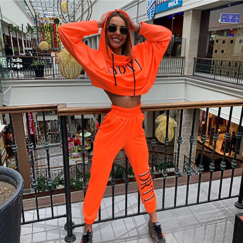 Orange Green Two Piece Oversized Hooded Sweatshirt And Sweatpants Set Women Two Pieces Sets 2019 Autumn Sportswear Two Piece Set
