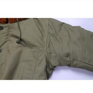 "Image 4 - Repro צבא ארה""ב B 11 חורף Parka מדים ירוק Vtg Mens ארוך כותנה מעיל"