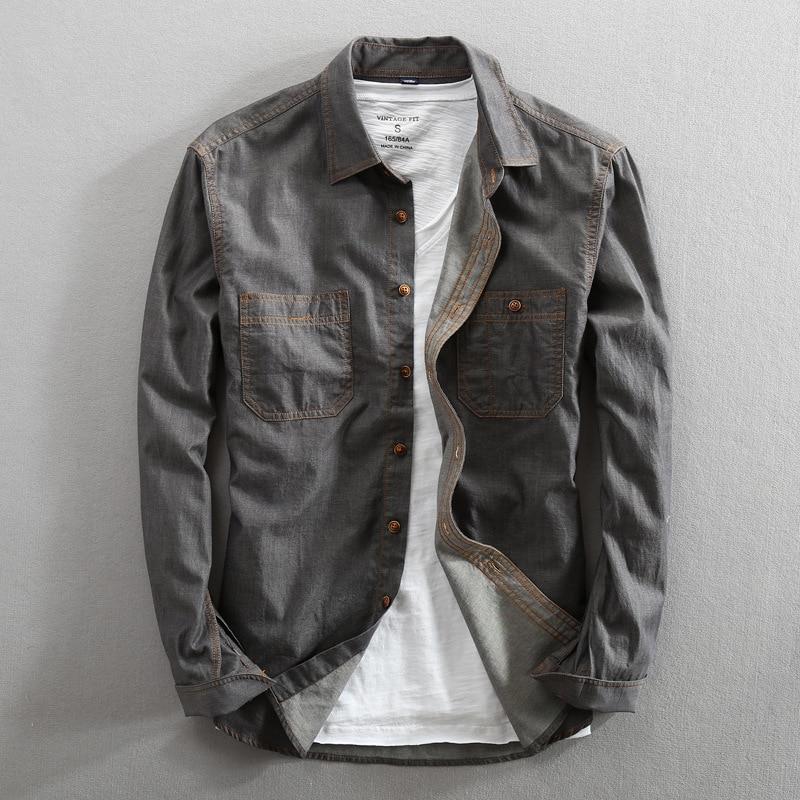 Men 2019 Spring And Autumn Fashion Brand Korea Style Vintage Slim Fit Denim Long Sleeve Shirt Male Casual Blue Gray Thin Shirts