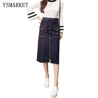 Women 2017 Blue Jeans Skirt Bodycon Split Pocket Slim Sexy Midi Skirt Korean Button Casual Belt