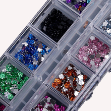 DIY Rhinestone Nail Jewelry 12 Color Flower Shaped Crystal Phone Drill Manicure Tools Nail Art Decorations Wholesale