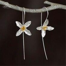 Lotus Fun Real 925 Sterling Silver Drop Earrings for Women Clover Flower Hook Long Earing Druzy Bohemian Earrings Fine Jewelry