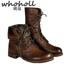 WHOHOLL 겨울 Genuine Leather Ankle Boots Men Keep Warm 봉 제 Martin Boots 분할 가죽 일 Motorcycle Boots Plus Size 38 -48(China)