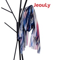 Jeouly new hot sales color stripes long scarf soft cachecol marcas foulard Femme tassel scarves women Wraps Lady shawls gift red