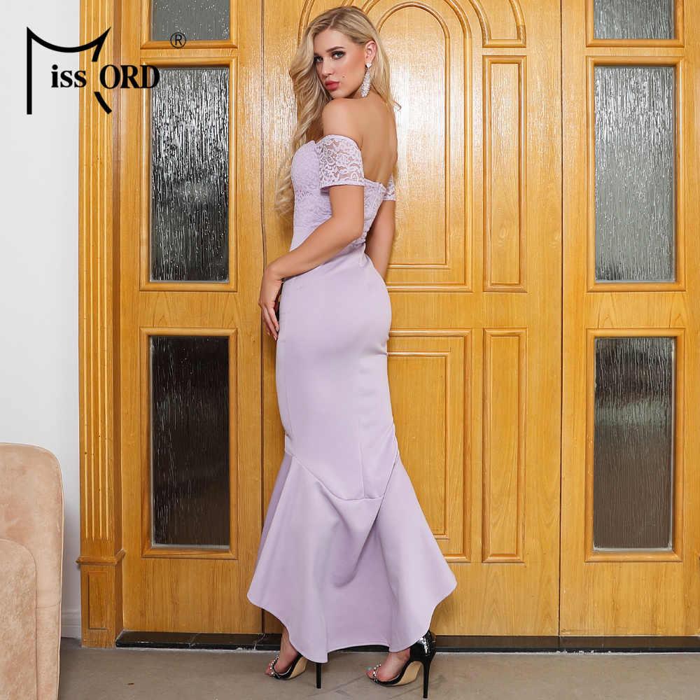 Missord 2020 mulheres sexy slash neck fora do ombro vestidos de renda manga curta feminino cor sólida elegante sereia vestido ft19400