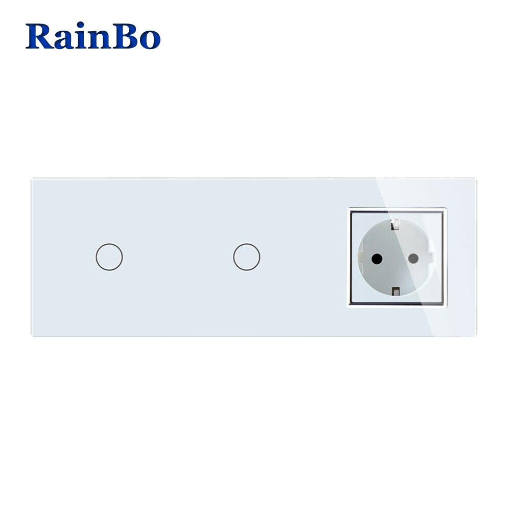 RainBo бренд кристалл стекло панель электронная розетка ЕС сенсорный выключатель управление экран настенный выключатель света 1gang1way A3911118ECW/B