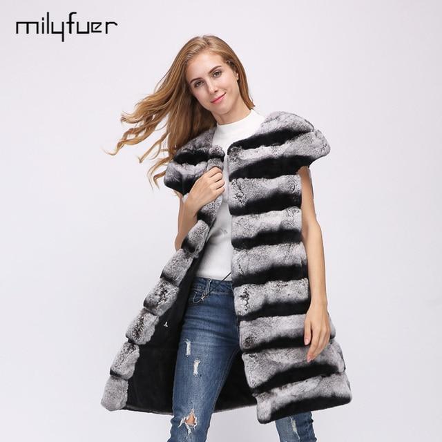 Milyfuer Rabbit Fur Vest Coat Women Full Pelt Striped O-Neck Slim Casual Autumn Winter Warm Female Coats Warm Winter Clothing