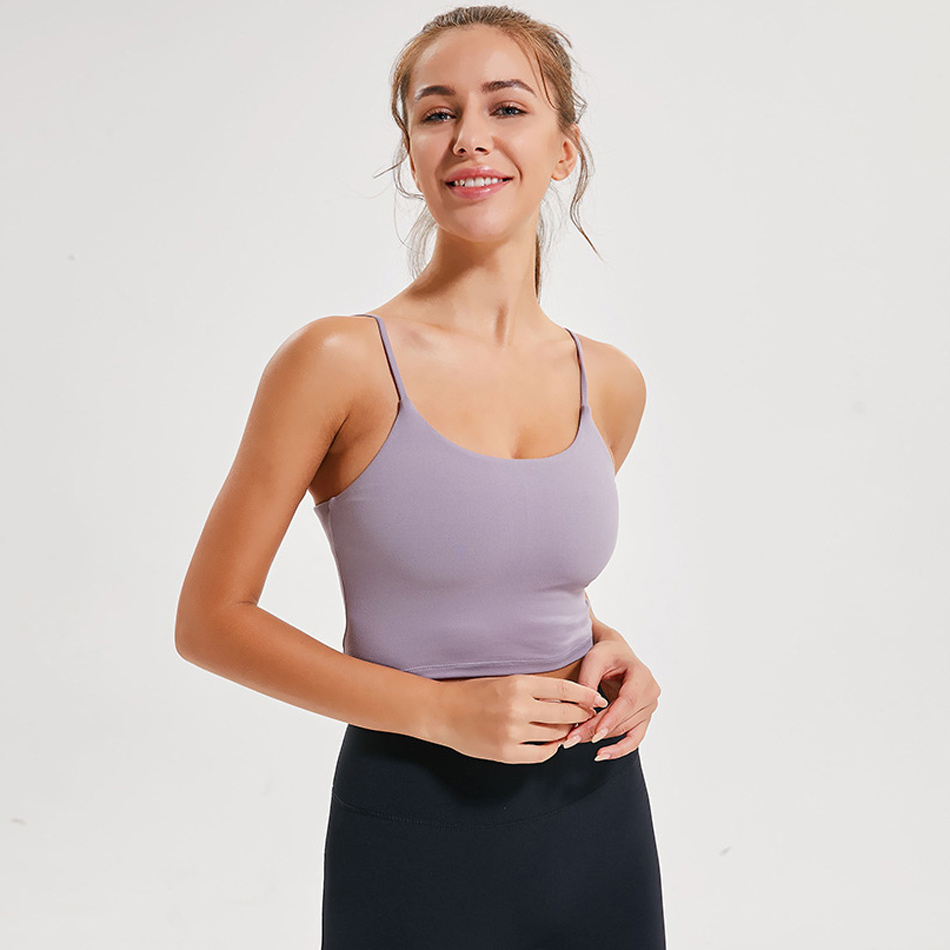 Thin strap workout tops for women fitness yoga shirts strappy gym crop top padded pink sport shirt 7 colors spandex women shirts 1