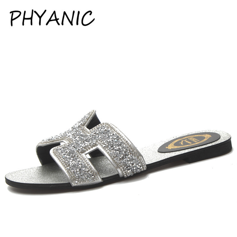 c514a5e27 PHYANIC Bling Bling Silver Designer Shoes Women Luxury 2018 Flat Crystal H  Slides Black Rhinestone Sandals Runway Shoes