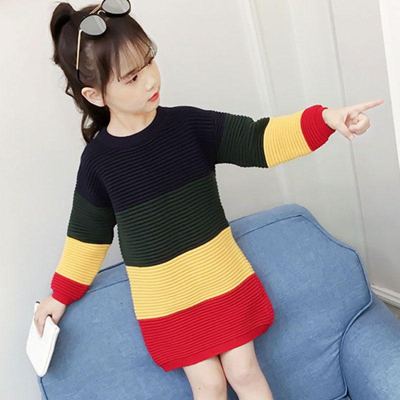 цена на fashion 2018 autumn patchwork striped knit dresses for teenage girls sweater clothing kids knitting dress baby girls clothes