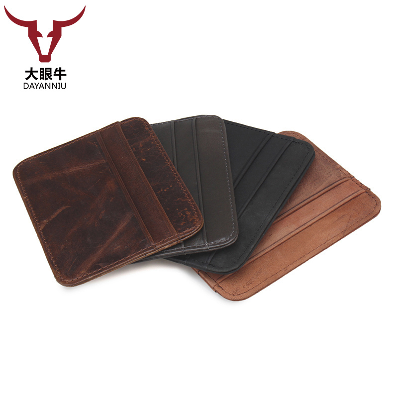 Vintage Crazy Horse Leather ID Pocket Bank Credit Card Case Thin Card Wallet Men Cash Cards Card Holder (customize available) ...