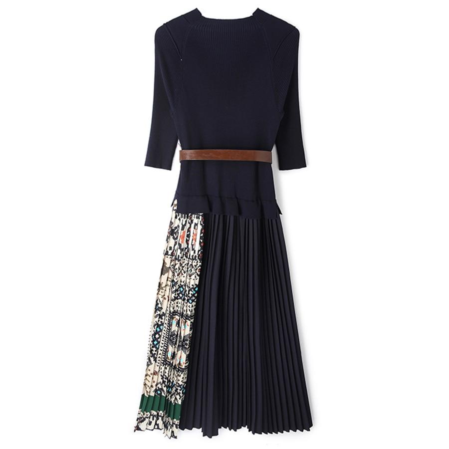 Image 4 - SEQINYY Midi Dress 2019 Summer Spring Fashion Design Women High  Quality Half Sleeve Knitting Spliced Draped Casual DressDresses   -