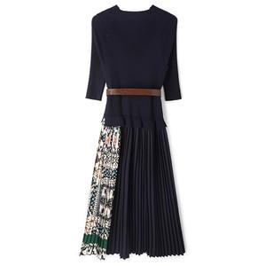 Image 4 - SEQINYY Midi Kleid 2019 Sommer Frühling Mode Design Frauen Hohe Qualität Halbe Hülse Stricken Gespleißt Drapierte Casual Kleid