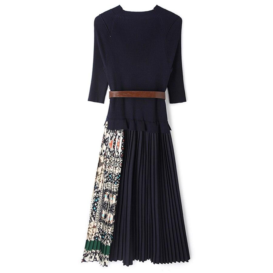 SEQINYY Midi Robe 2019 D'été Printemps Design De Mode Femmes Haute Qualité Demi Manches À Tricoter Spliced Drapé Casual Robe - 4