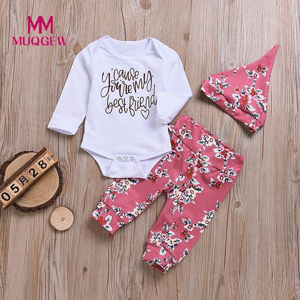 3729f25172a MUQGEW 3pcs Newborn Infant Baby Girls Clothes Set Long Sleeve Letter Print  Bodysuit Romper+Pants+Hat Outfits Clothes Set  PY