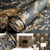 Luxury Thickening Embossed Relief 3D Wallpaper Damascus Living Room TV Backdrop Wallpaper LBShipping