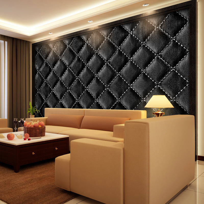 Europen Sofa Imitation Leather Soft Bag Self-adhesive Wallpaper New Wall Stickers Black White 3d Wall Sticker Living Room Decor