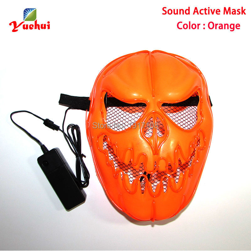 High grade 3V Sound Activated Halloween Pumpkin faces Mask EL wire Glowing Flexible LED Neon light For Carnival Party Decoration