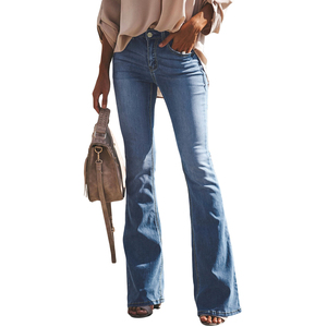 Image 1 - LIBERJOG セクシーな女性ベルボトムパンツジーンズコットン秋冬カジュアル穴ワイド脚フレアデニムパンツ女性のジーンズ
