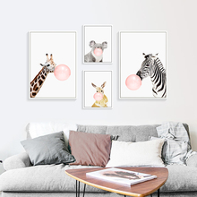 Animal Poster Rabbit Canvas  Painting Kids Room Art Print Baby Nursery Prints Cute Cartoon Nordic Unframed