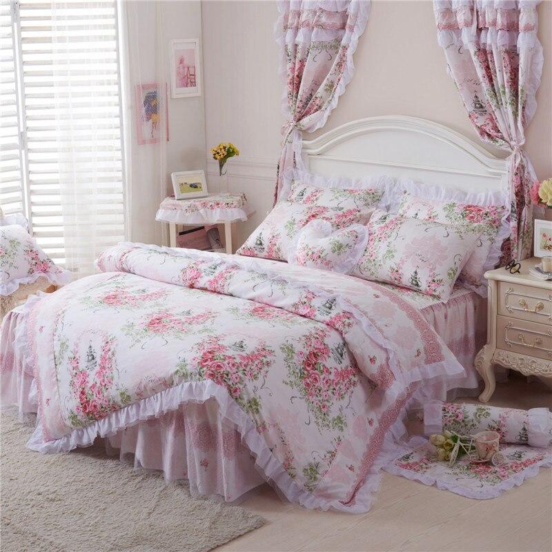 Корейский стиль Хлопок Кружева Принцесса постельных принадлежностей полный queen King size розовый цветочный Девушки Постельное белье Bedskirt наво