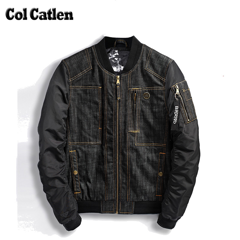 New Brand Jacket Men Solid Color Design Denim Bomber Jackets Man Black Fashion Cowboy Jeans Coats