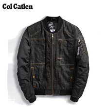 New Brand Jacket Men Solid Color Design Denim Bomber Jackets Man Black Fashion Cowboy Jeans Coats Stand Collar Winderbreaker 3XL